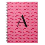 Monogram pink mustache pattern spiral notebook