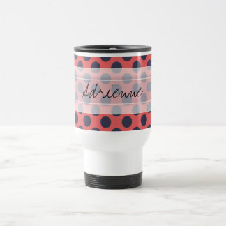 Monogram Pink Navy Blue Chic Polka Dot Pattern Travel Mug