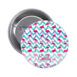 Monogram Pink Neon Flamingos Teal Glitter Chevron Pinback Button