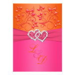 Monogram Pink, Orange Floral Joined Hearts Invite