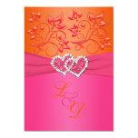 Monogram Pink, Orange Floral Joined Hearts Invite