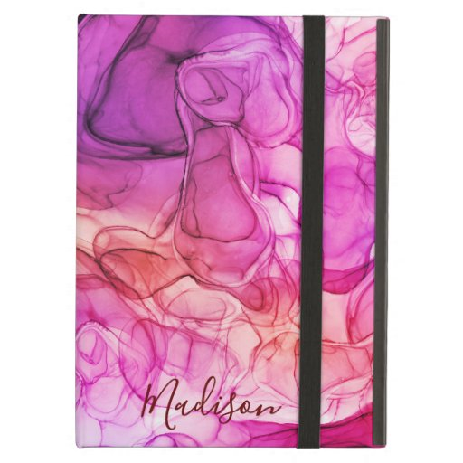 Monogram pink orange marbling dreams case for iPad air