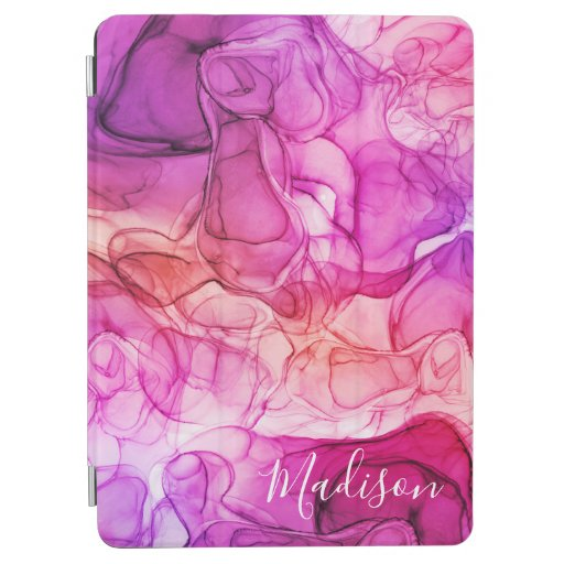 Monogram pink orange marbling dreams iPad air cover