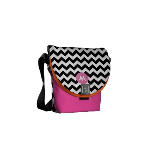 Monogram Pink Orange Modern Zig Zag Pattern Courier Bag