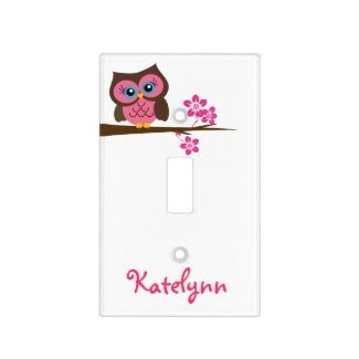 Monogram Pink Owl Light Switch Plate Covers