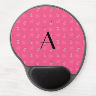 Monogram pink owls and hearts gel mouse mat