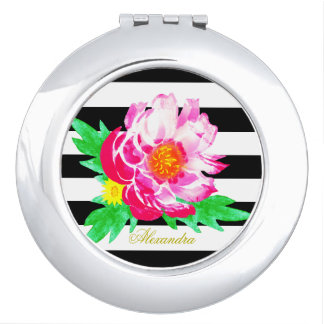 Monogram Pink Peony Black & White Compact Mirror