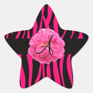 Monogram pink peony zebra stripes star sticker