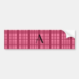 Monogram pink plaid bumper stickers