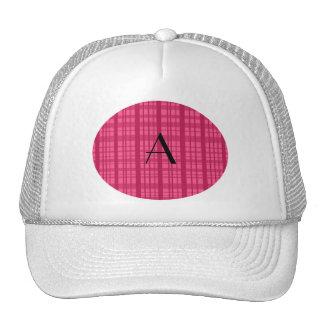 Monogram pink plaid trucker hat
