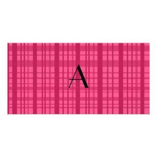 Monogram pink plaid personalized photo card