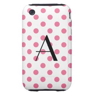 Monogram pink polka dots tough iPhone 3 case