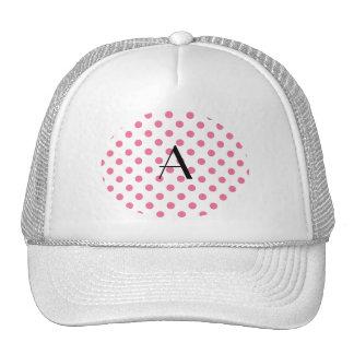 Monogram pink polka dots trucker hat