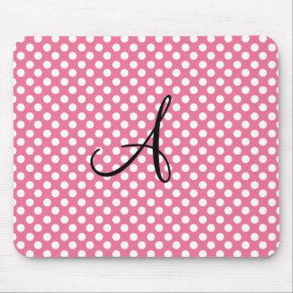 Monogram pink polka dots mouse pad