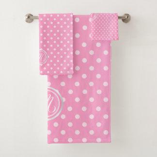 Monogram Pink Polka Dots Pattern Bath Towel Set