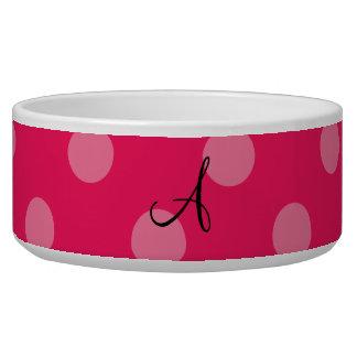 Monogram Pink polka dots pattern Pet Bowls