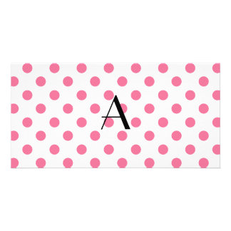 Monogram pink polka dots personalized photo card