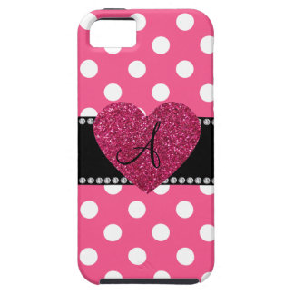Monogram pink polka dots pink heart iPhone 5 case
