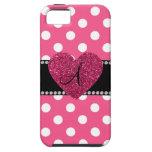 Monogram pink polka dots pink heart iPhone 5 case