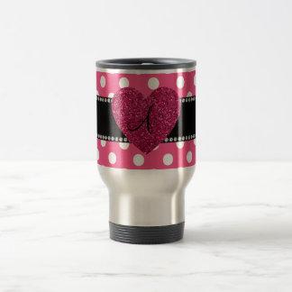 Monogram pink polka dots pink heart 15 oz stainless steel travel mug