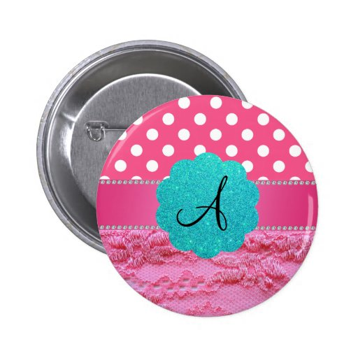 Monogram pink polka dots pink lace 2 inch round button
