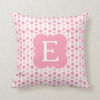 Monogram Pink Polka Dots Toss Pillow