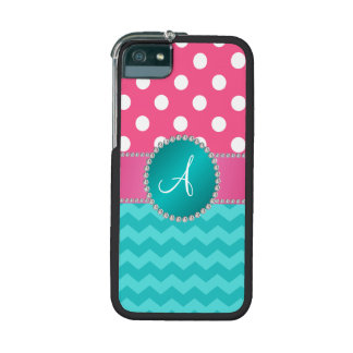 Monogram pink polka dots turquoise chevron sparkle case for iPhone 5