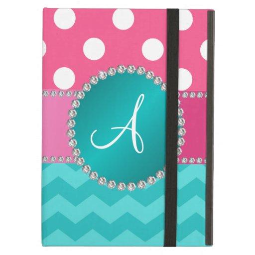 Monogram pink polka dots turquoise chevron sparkle iPad air cover