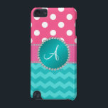 "Monogram pink polka dots turquoise chevron sparkle iPod touch 5G case<br><div class=""desc"">Pink white polka dots pattern and turquoise/teal/aqua chevrons pattern, with faux turquoise diamond circle and pink diamonds (faux not real diamonds) stripe and monogram letter change to any letter a, b, c, d, e, f, g, h, i, j, k, l, m, n, o, p, q, r, s, t, u, v,...</div>"
