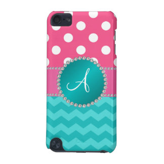 Monogram pink polka dots turquoise chevron sparkle iPod touch (5th generation) cover