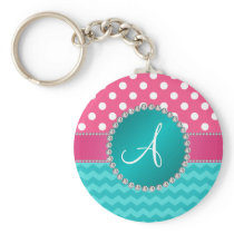 Monogram pink polka dots turquoise chevron sparkle keychain