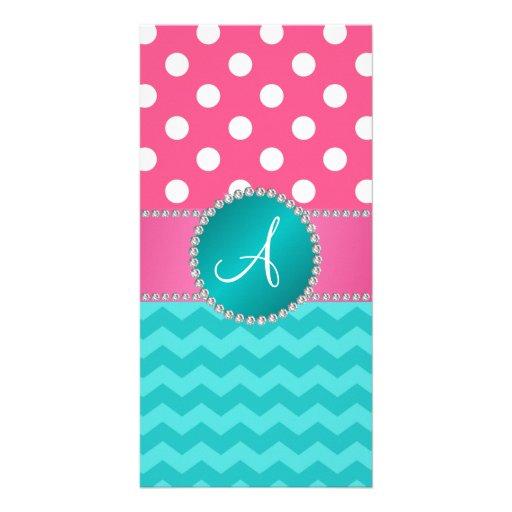 Monogram pink polka dots turquoise chevron sparkle photo cards