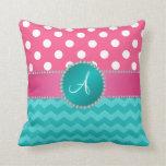 Monogram pink polka dots turquoise chevron sparkle throw pillows