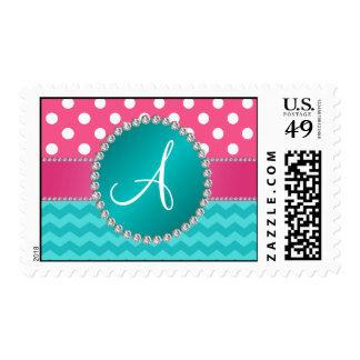 Monogram pink polka dots turquoise chevron sparkle stamp