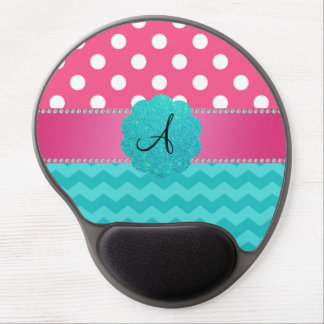 Monogram pink polka dots turquoise chevrons gel mouse pad