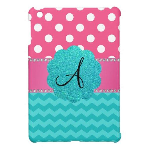 Monogram pink polka dots turquoise chevrons iPad mini cover