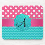 Monogram pink polka dots turquoise chevrons mouse pad