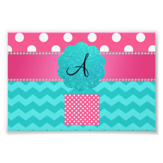 Monogram pink polka dots turquoise chevrons photographic print