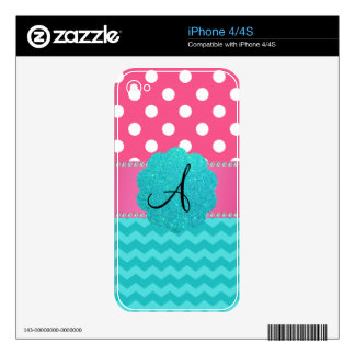 Monogram pink polka dots turquoise chevrons iPhone 4S skins