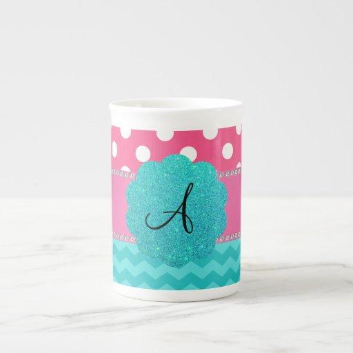 Monogram pink polka dots turquoise chevrons tea cup