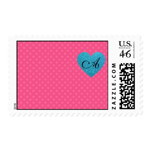 Monogram pink polka dots turquoise heart stamp
