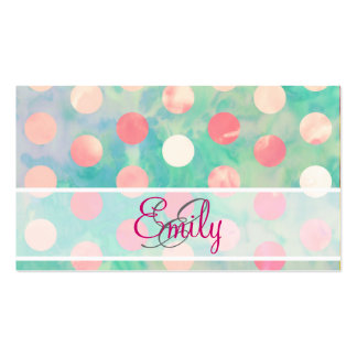 Monogram Pink Polka Dots Watercolor Teal Pattern Business Cards