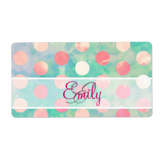 Monogram Pink Polka Dots Watercolor Teal Pattern Personalized Shipping Label