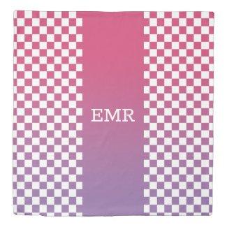 Monogram Pink Purple Stripe on Checkered Pattern Duvet Cover