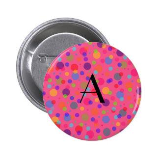 Monogram pink rainbow polka dots pins