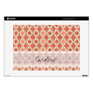 "Monogram Pink Red Geo Tribal Ikat Diamond Pattern 15"" Laptop Decals"