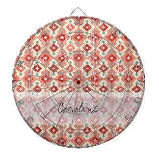 Monogram Pink Red Geo Tribal Ikat Diamond Pattern Dart Boards