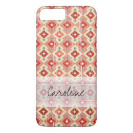 Monogram Pink Red Geo Tribal Ikat Diamond Pattern iPhone 8 Plus/7 Plus Case