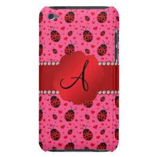 Monogram pink red ladybugs hearts pattern iPod touch Case-Mate case