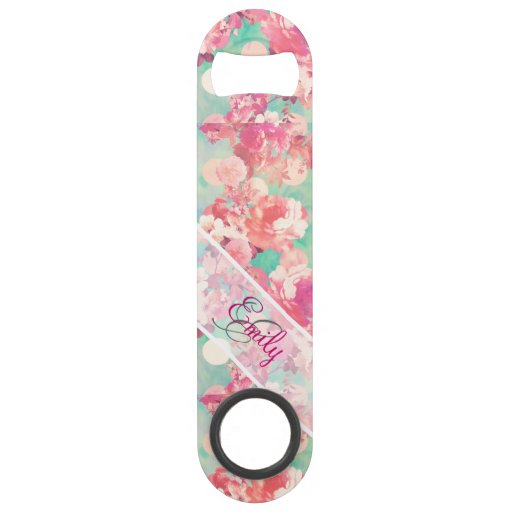 Monogram Pink Retro Floral Pattern Teal Polka Dots Bar Key